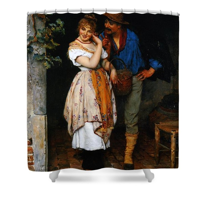 Couple Shower Curtain featuring the painting Couple Courting by Eugen von Blaas