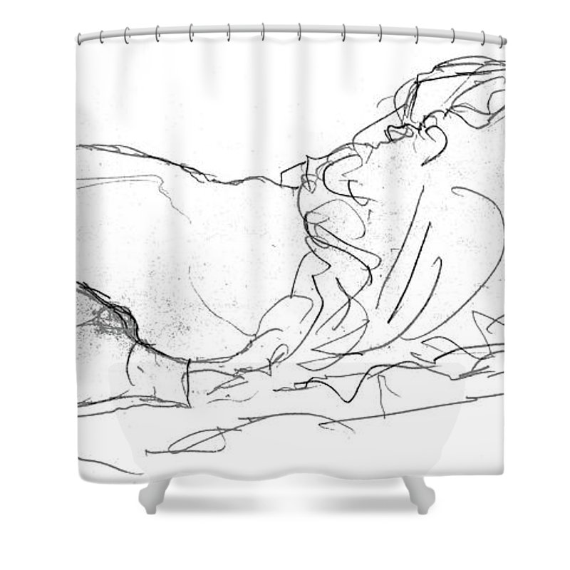 Klimt Shower Curtain Featuring The Drawing Couple In Bed By Gustav