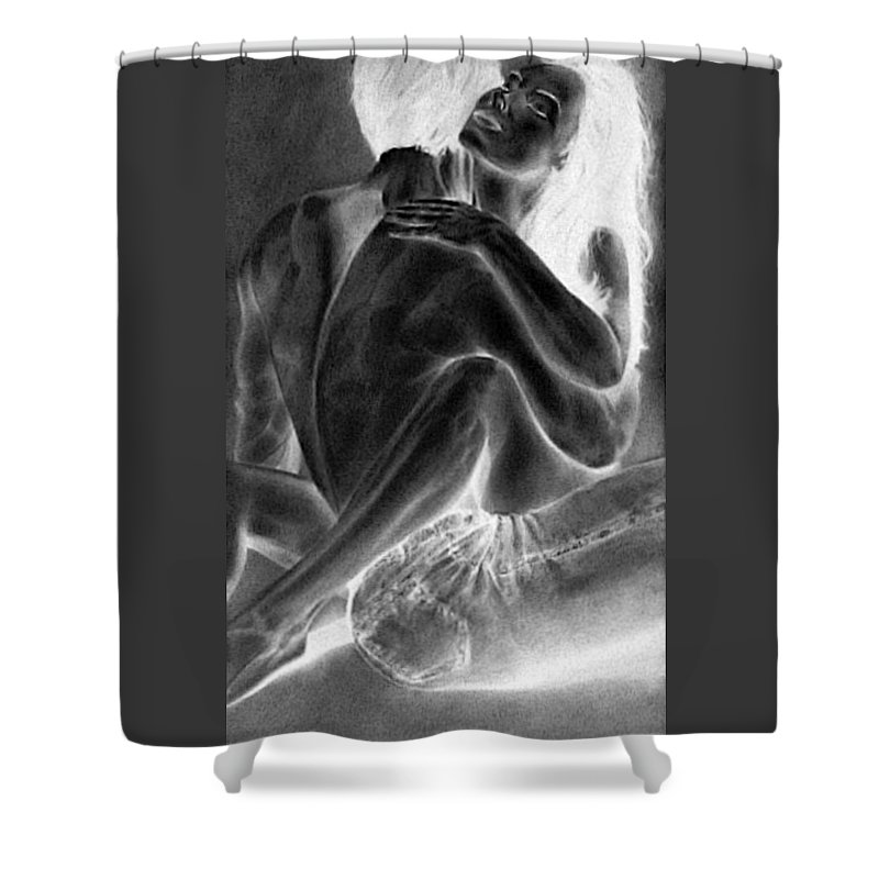 Nude Couple Painting Shower Curtain Featuring The Madly In Love By RjFxx At Beautifullart