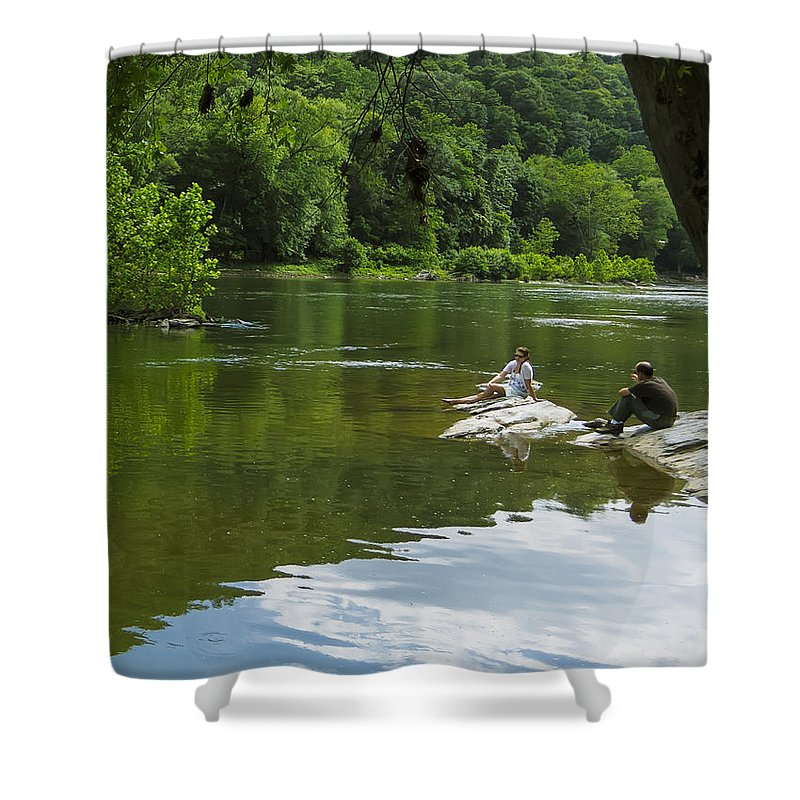 America Shower Curtain featuring the photograph Couple Relaxing By The Shenandoah River At Harpers Ferry by Steve Samples
