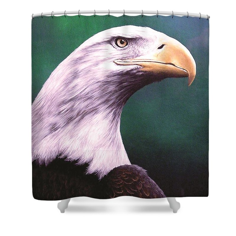 Eagle Shower Curtain featuring the painting Courage by Anthony J Padgett