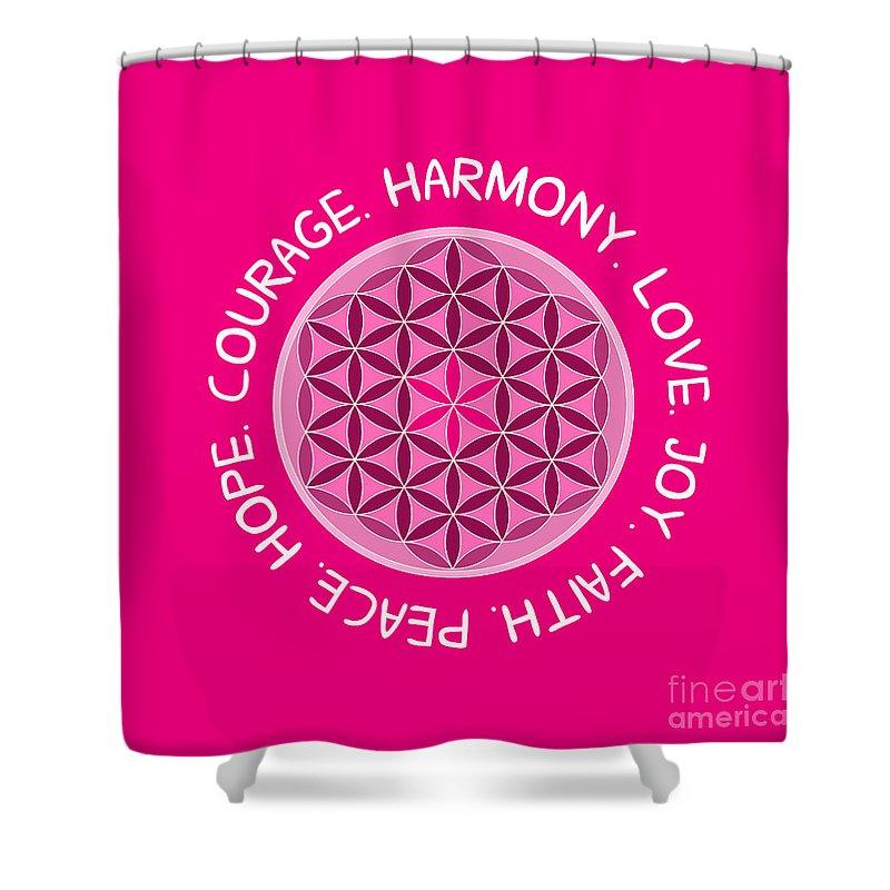 Mandala Shower Curtain Featuring The Digital Art Courage Love Harmony Joy Faith