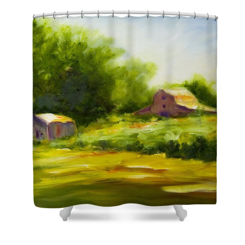 Landscape In Green Shower Curtain featuring the painting Courage by Shannon Grissom
