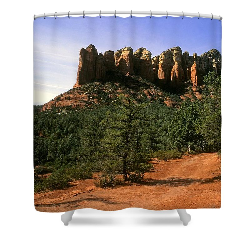 Court House Butte Shower Curtain featuring the photograph Court House Butte by Gary Wonning