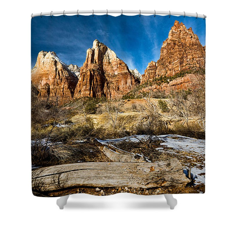 Mountains Shower Curtain featuring the photograph Court Of The Patriarchs by Christopher Holmes