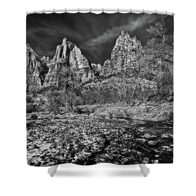 Art Shower Curtain featuring the photograph Court Of The Patriarchs II - Bw by Christopher Holmes