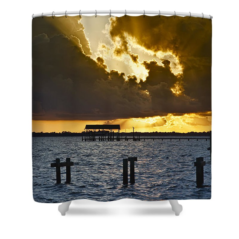 Bay Shower Curtain featuring the photograph Courtship by Janet Fikar