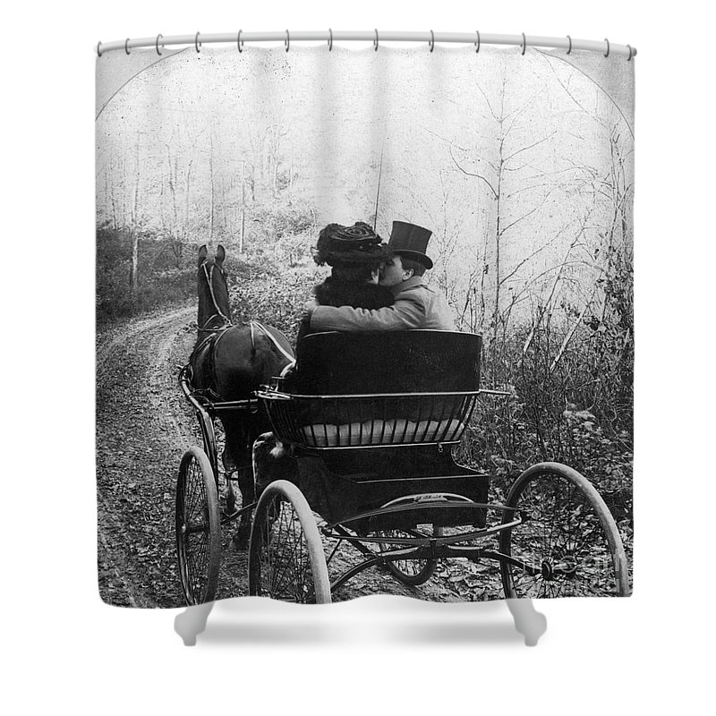 1904 Shower Curtain featuring the photograph Courtship/carriage Ride by Granger