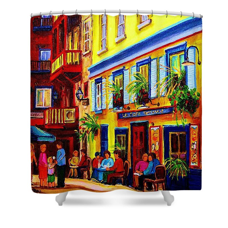 Courtyard Cafes Shower Curtain featuring the painting Courtyard Cafes by Carole Spandau