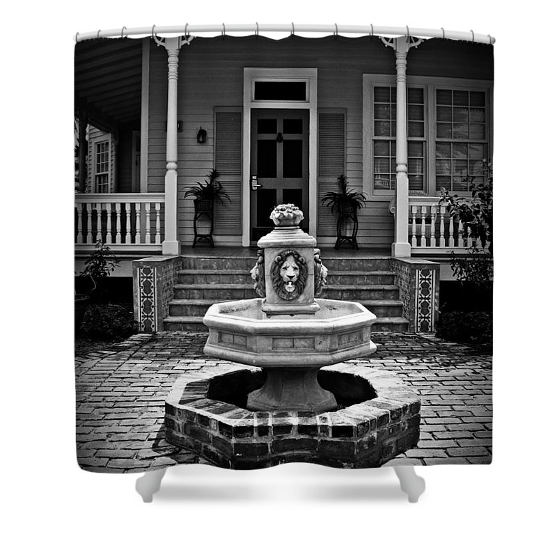 Courtyard Shower Curtain featuring the photograph Courtyard Fountain by Perry Webster