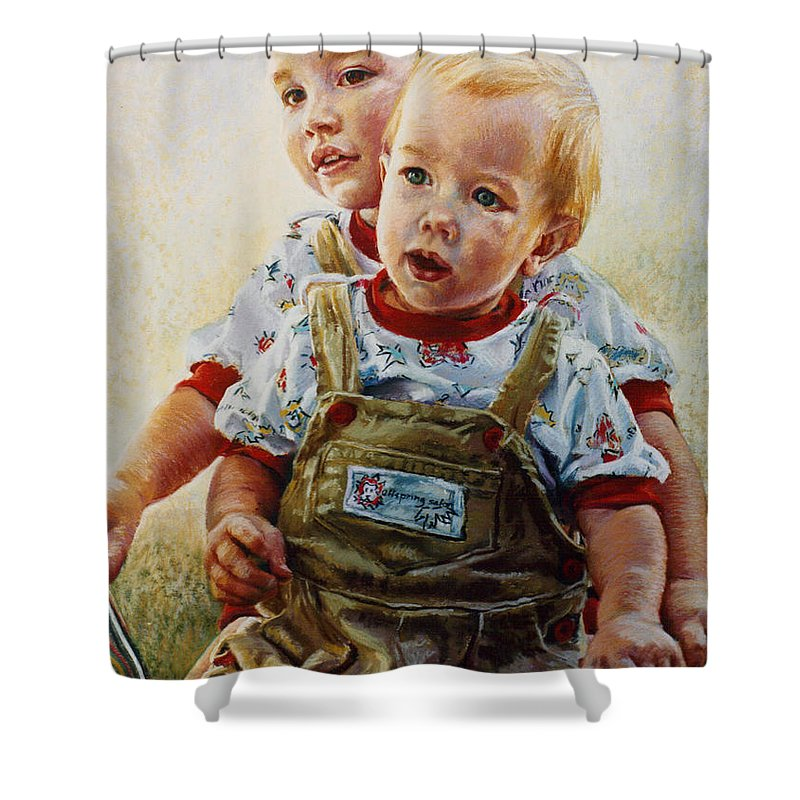 Pastel Portrait Shower Curtain featuring the pastel Cousins by Jean Hildebrant