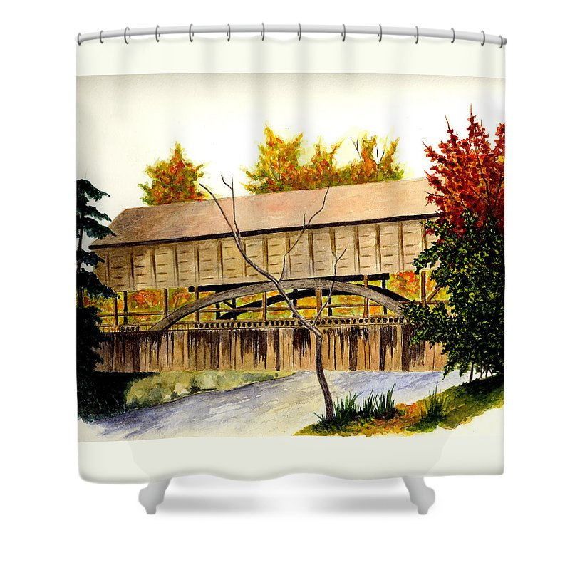 Bridge Shower Curtain featuring the painting Covered Bridge - Mill Creek Park by Michael Vigliotti