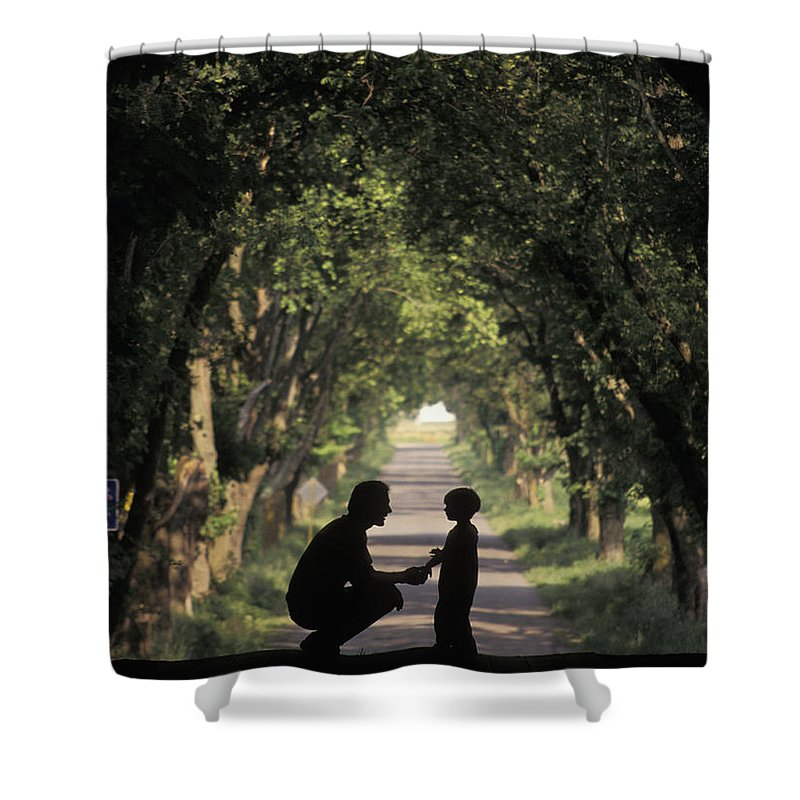Rural Shower Curtain featuring the photograph Covered Bridge Silhouettes In Mount by Richard Nowitz