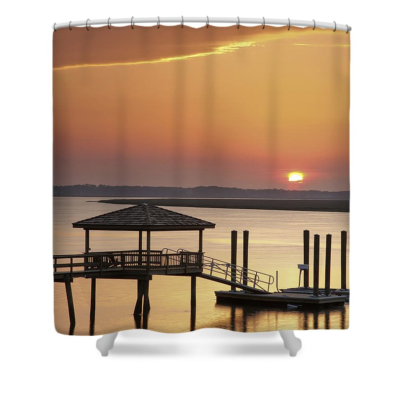 Sunset Shower Curtain featuring the photograph Covered Dock by Phill Doherty
