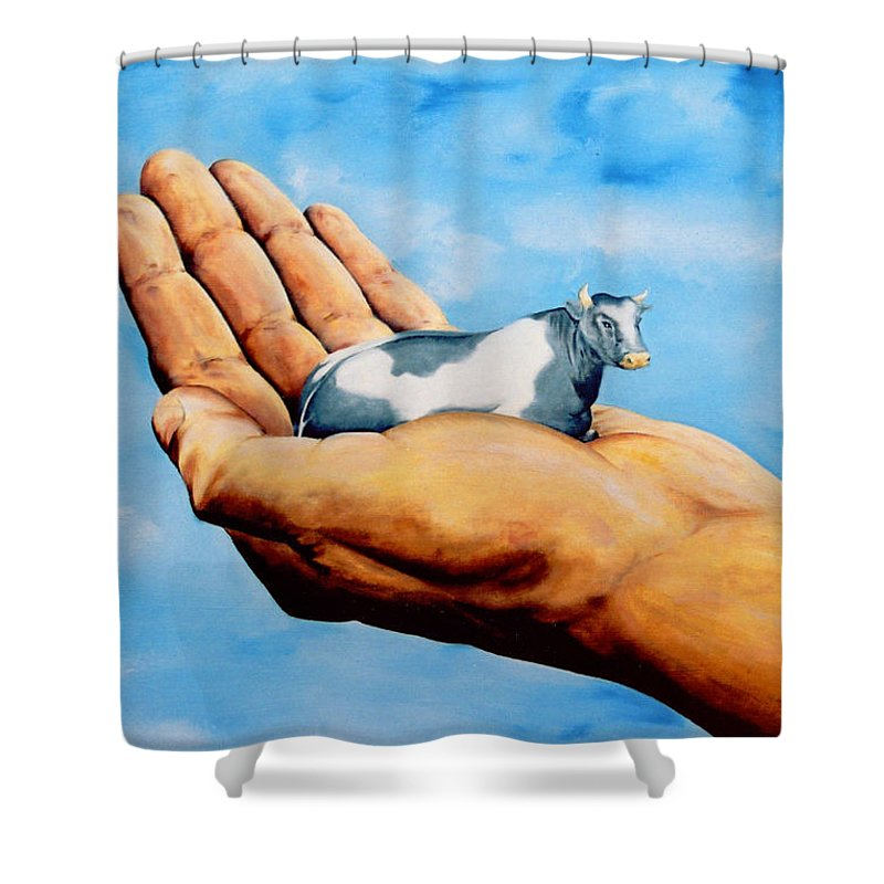 Surreal Shower Curtain featuring the painting Cow In Hand by Mark Cawood