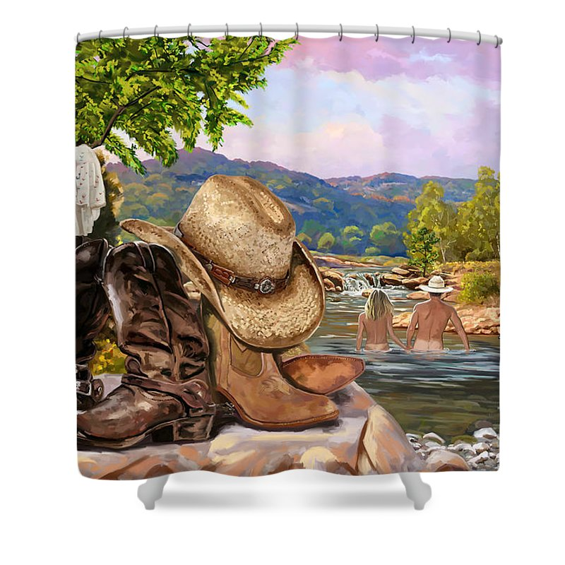 Cowboy And Girl Skinny Dipping Shower Curtain For Sale By Tim Gilliland