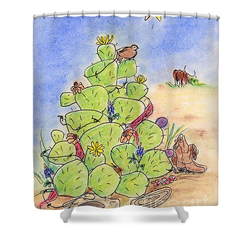 Texas Shower Curtain featuring the drawing Cowboy Christmas by Vonda Lawson-Rosa