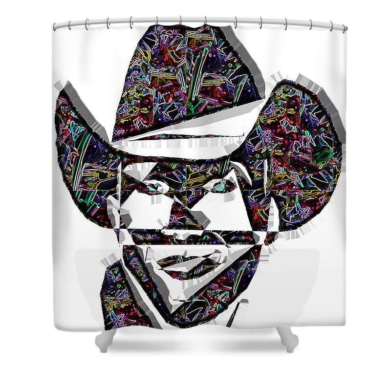Pop Art Shower Curtain featuring the digital art Cowboy Colorful 47 by Dalon Ryan