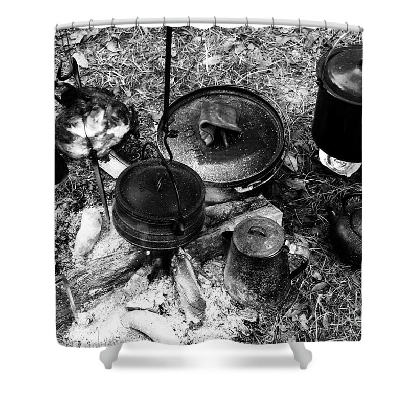 Cooking Shower Curtain featuring the photograph Cowboy Cooking by David Lee Thompson
