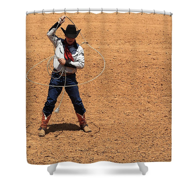 Western Art Shower Curtain featuring the photograph Cowboy Entertainer by Kim Henderson