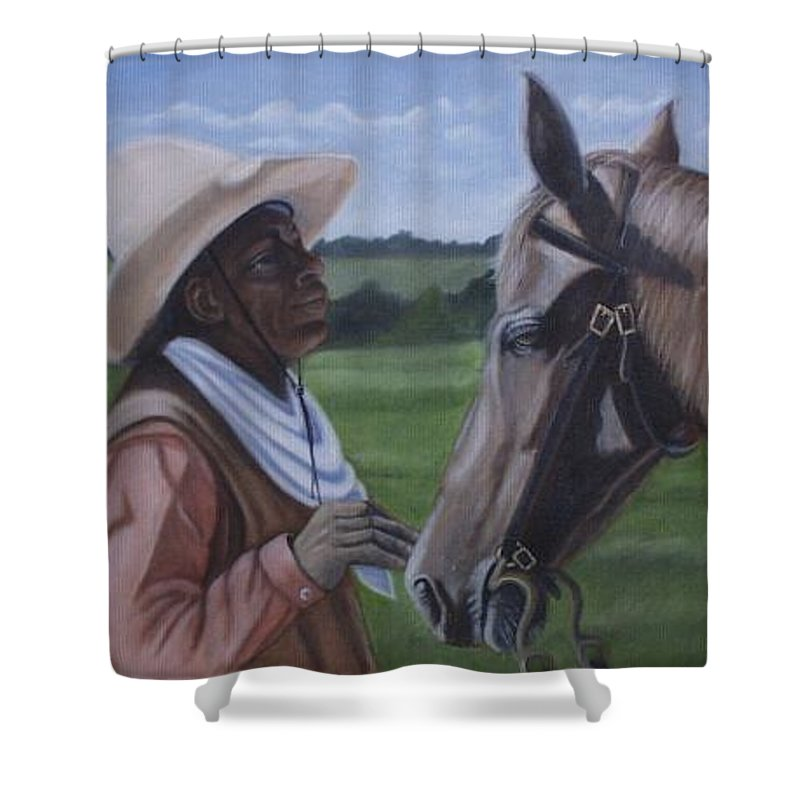 Portrait Shower Curtain featuring the painting Cowboy2 by Toni Berry
