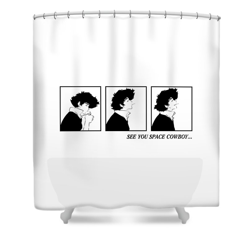 Space Shower Curtain Featuring The Digital Art Cowboybebop See You Cowboy By Oryza Nosativa