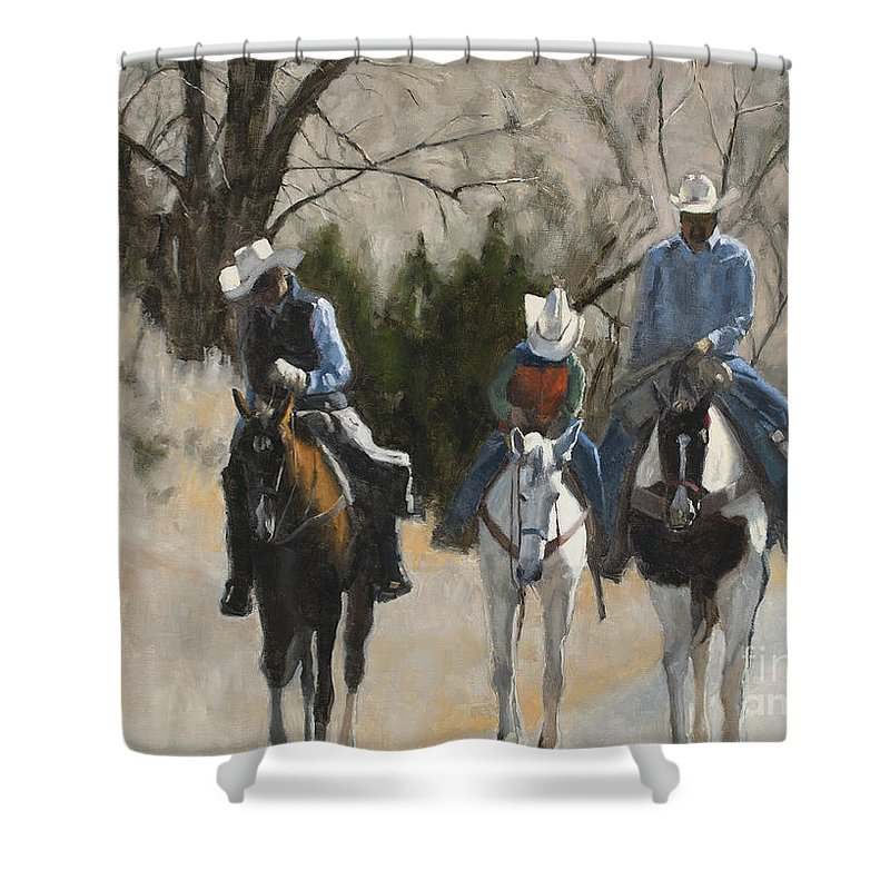 Cowboys Shower Curtain featuring the painting Cowboys by Tate Hamilton