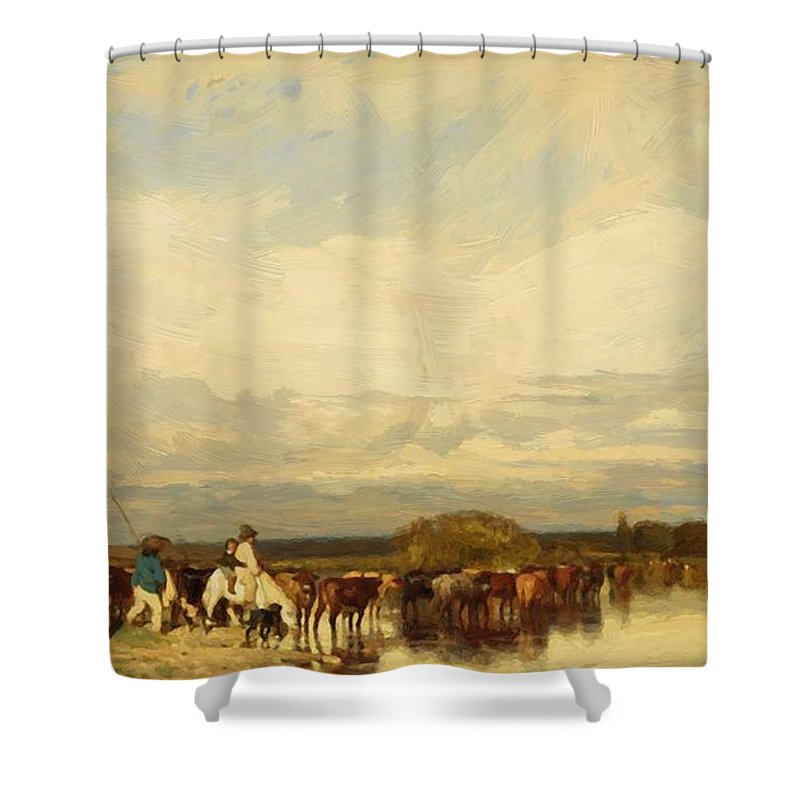 Cows Shower Curtain featuring the painting Cows Crossing A Ford 1836 by Dupre Jules