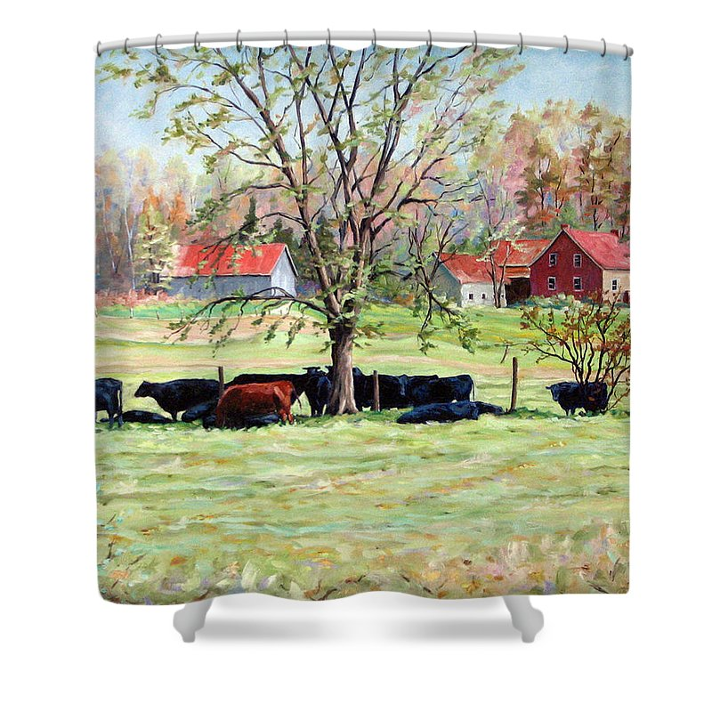 Cows Shower Curtain featuring the painting Cows Grazing In One Field by Richard T Pranke