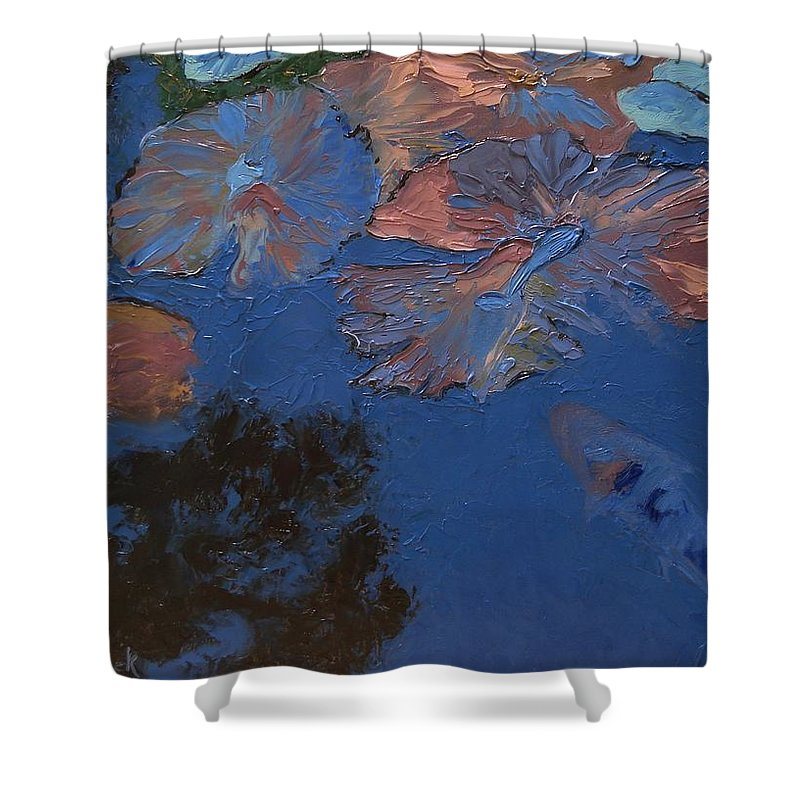 Floral Shower Curtain featuring the painting Coy Koi by Barbara Andolsek