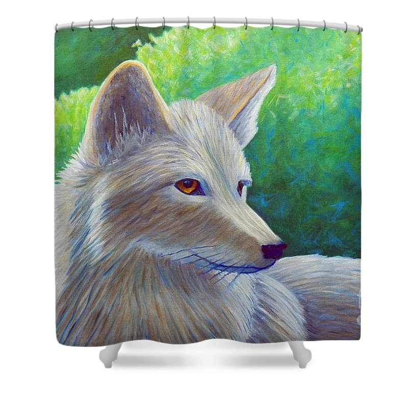 Coyote Shower Curtain featuring the painting Coyote Charisma by Brian Commerford