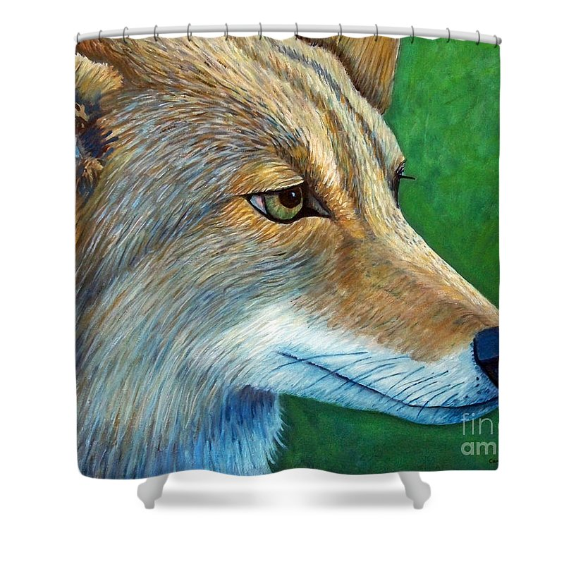 Coyote Shower Curtain featuring the painting Coyote Logic by Brian Commerford