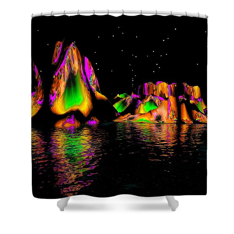 Mountains Shower Curtain featuring the digital art Coyote Moon- by Robert Orinski