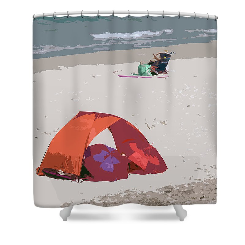 Florida Shower Curtain featuring the painting Cozy Hide-a-way For Two On A Florida Beach by Allan Hughes