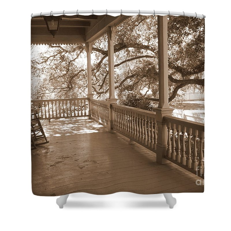 Porch Shower Curtain featuring the photograph Cozy Southern Porch by Carol Groenen