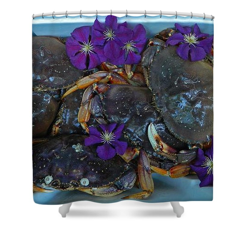 Award Winning Photo Shower Curtain featuring the photograph Crab Feed by Shannon West