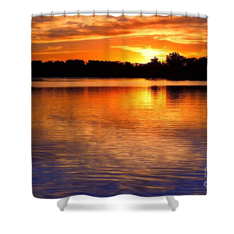 Lake Shower Curtain Featuring The Photograph Crab Orchard At Sunset By Ty Shults