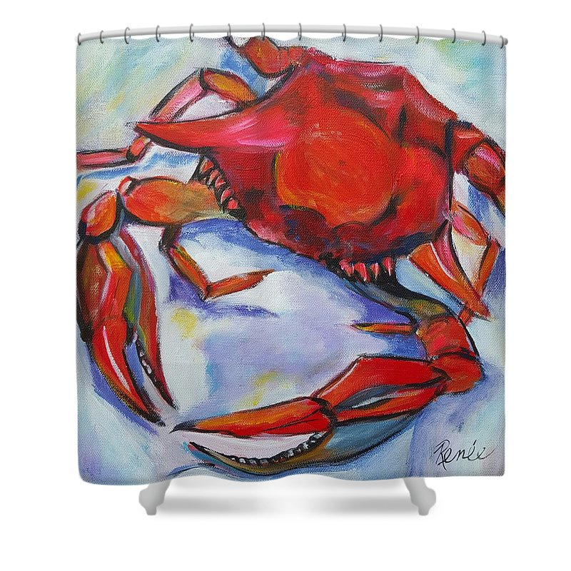 Crabby Crab Shower Curtain For Sale By Renee Vandevere