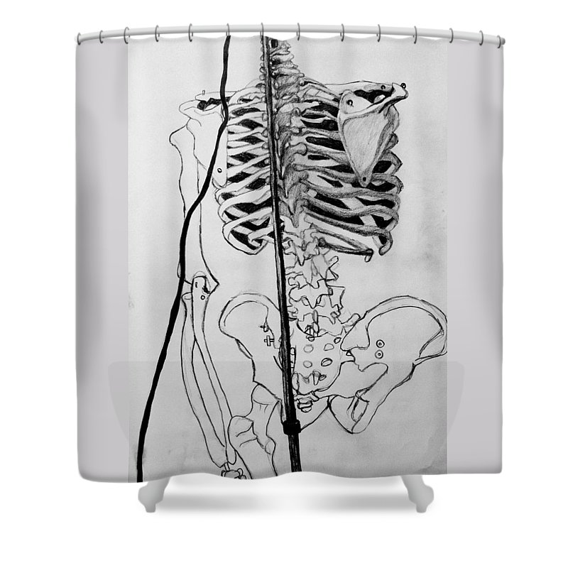 Bone Shower Curtain featuring the drawing Crackling Bones by Jean Haynes