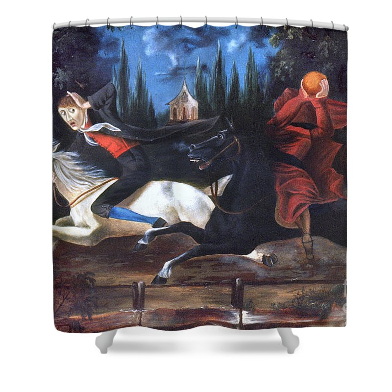 1835 Shower Curtain featuring the photograph Crane And Horseman by Granger