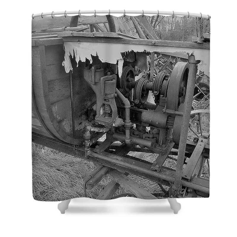Farm Auction Shower Curtain featuring the photograph Crank Wood Bw by Mark Victors