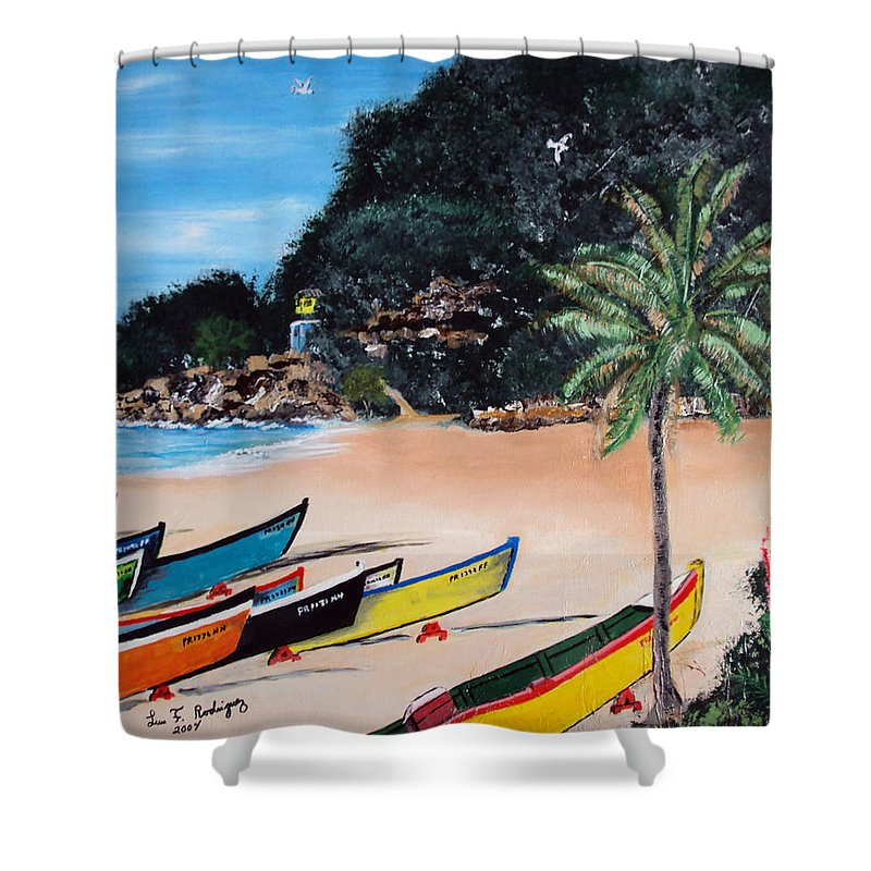 Aguadilla Shower Curtain featuring the painting Crashboat Beach I by Luis F Rodriguez