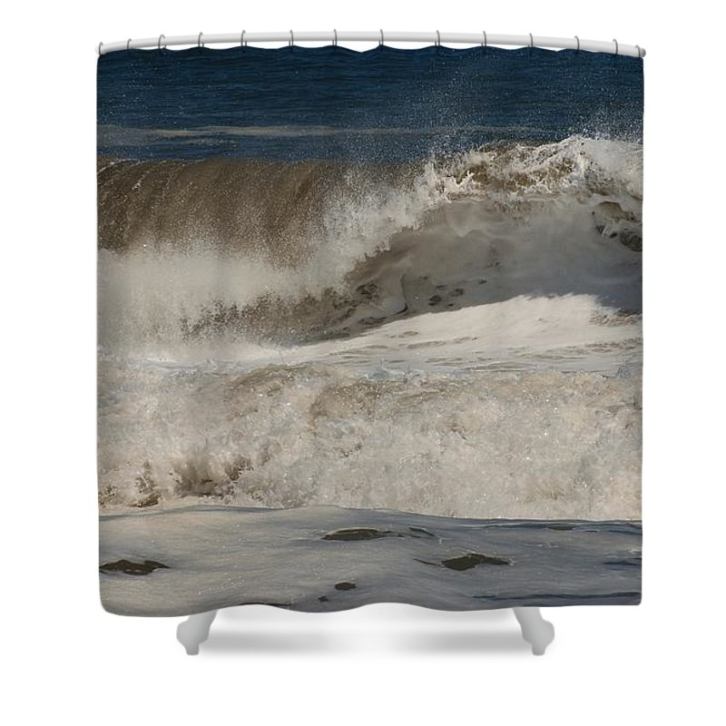 Jersey Shore Shower Curtain featuring the photograph Crashing - Jersey Shore by Angie Tirado