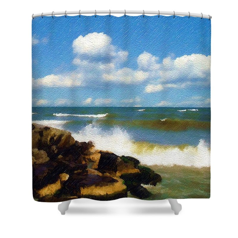 Seascape Shower Curtain featuring the photograph Crashing Into Shore by Sandy MacGowan