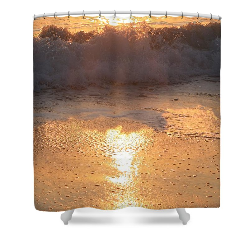Waves Shower Curtain featuring the photograph Crashing Wave At Sunrise by Nadine Rippelmeyer