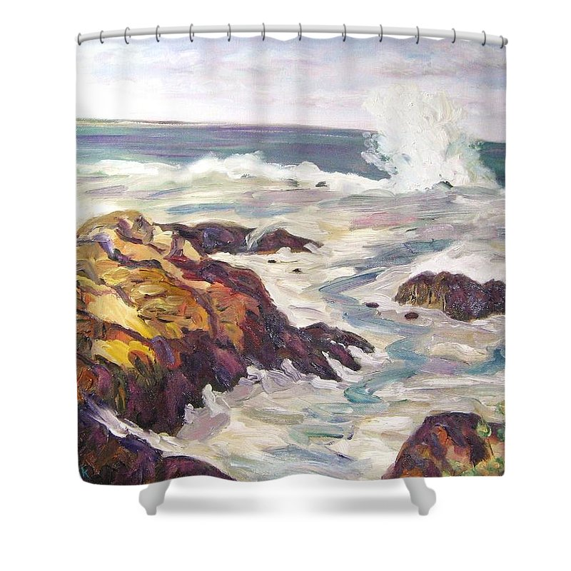 Water Shower Curtain featuring the painting Crashing Wave On Maine Coast by Richard Nowak