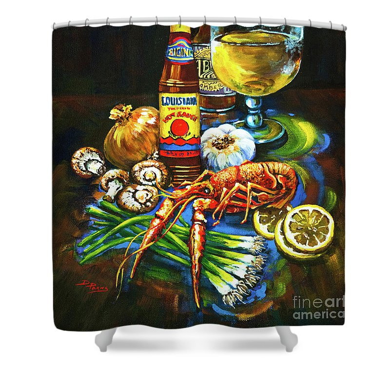 Louisiana Food Shower Curtain featuring the painting Crawfish Fixin's by Dianne Parks