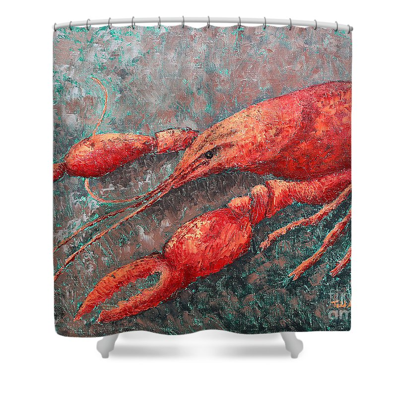 Animal Shower Curtain featuring the painting Crawfish by Todd Blanchard