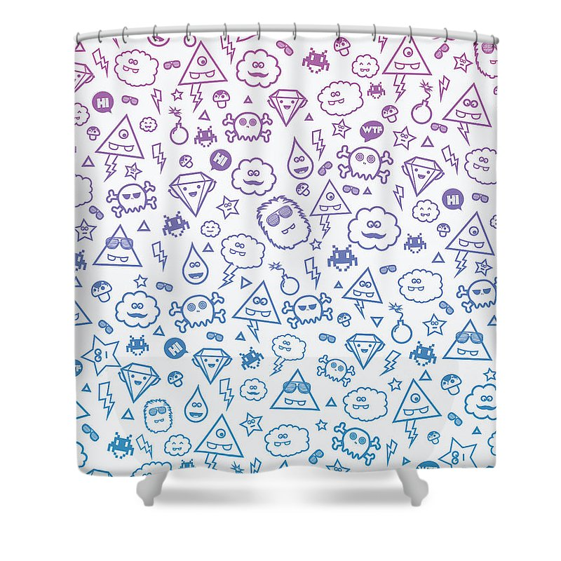 A Collection Of My Cute Monsters :) ! Warning Trend Suspicious! Space Invaders Shower Curtain featuring the digital art Crazy And Cute Monster Patter In Blue Pink by Philipp Rietz