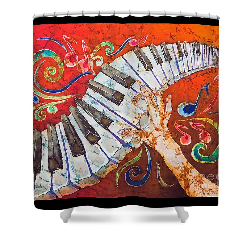 Piano Shower Curtain featuring the tapestry - textile Crazy Fingers - Piano Keyboard by Sue Duda